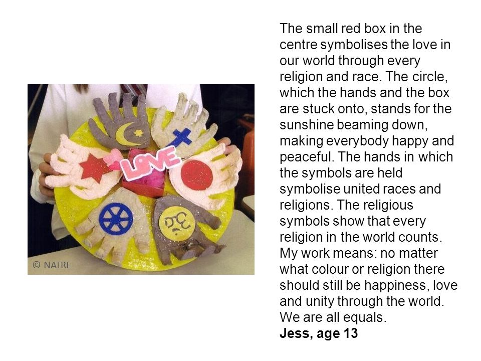 The small red box in the centre symbolises the love in our world through every religion and race.