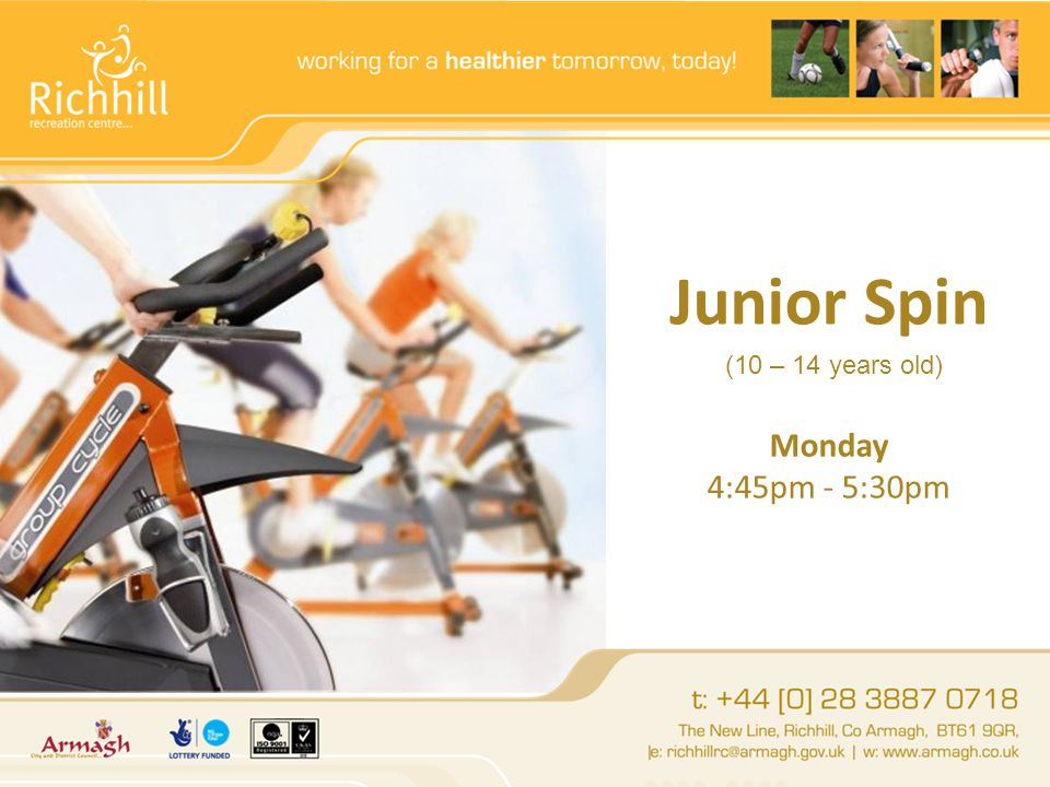 Junior Spin Monday 4:45pm - 5:30pm (10 – 14 years old)