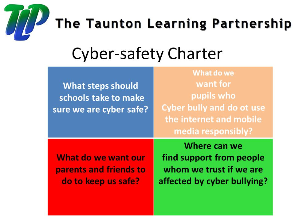 Cyber-safety Charter What steps should schools take to make sure we are cyber safe.