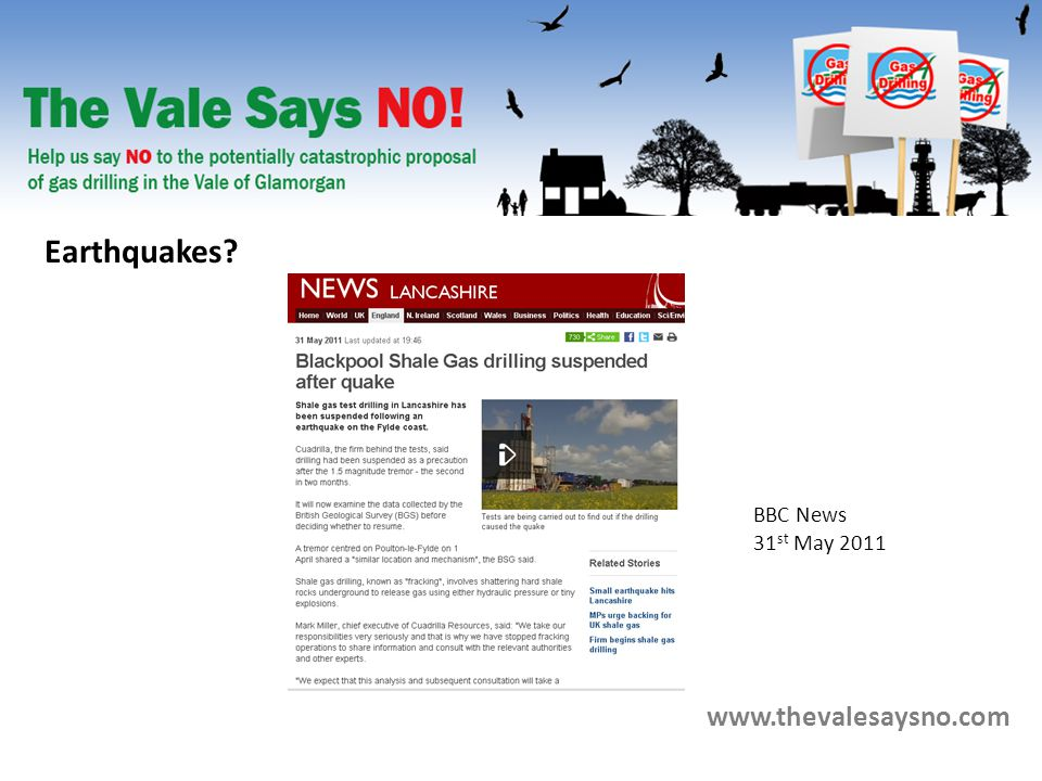 www.thevalesaysno.com BBC News 31 st May 2011 Earthquakes