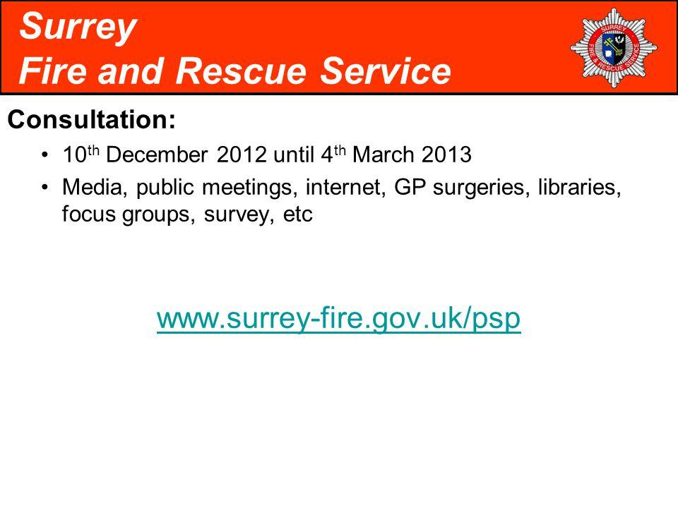 Consultation: 10 th December 2012 until 4 th March 2013 Media, public meetings, internet, GP surgeries, libraries, focus groups, survey, etc www.surrey-fire.gov.uk/psp Surrey Fire and Rescue Service