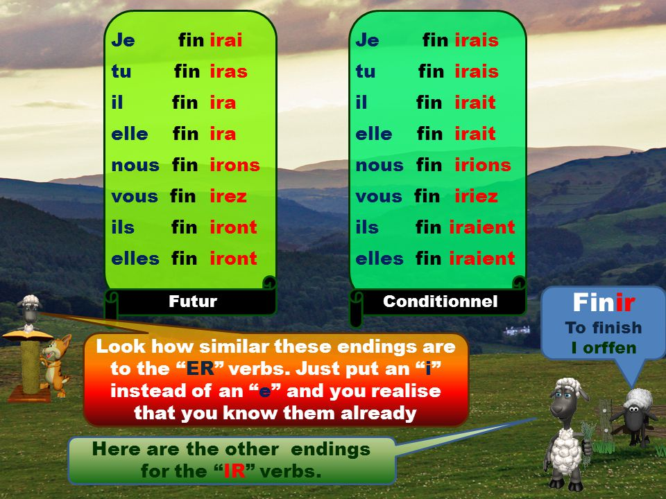 Finir To finish I orffen I'm afraid you'll need to learn these endings too.