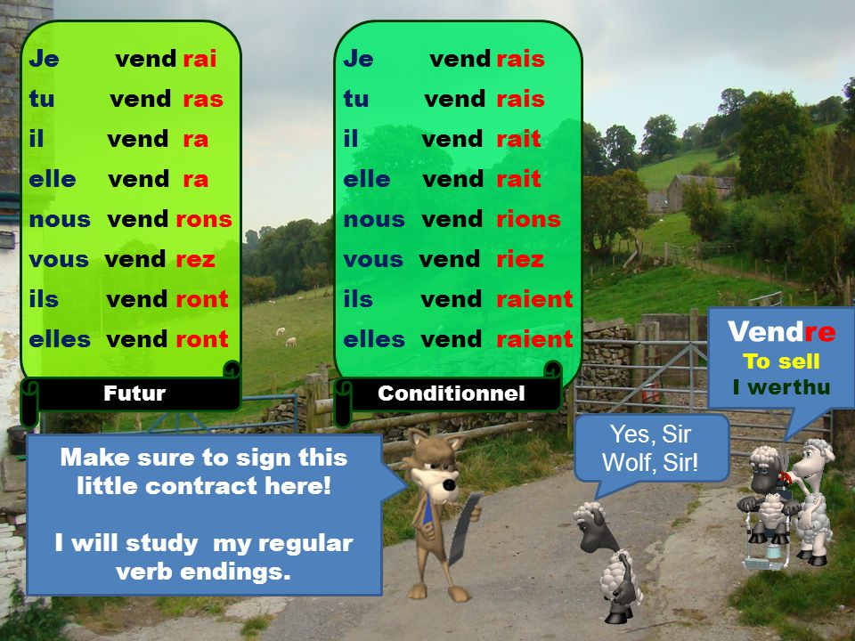 And here are the endings for RE verbs Vendre To sell I werthu Je vend tu vend il vend elle vend nous vend vous vend ils vend elles vend Présent s s ons ez ent Je vend tu vend il vend elle vend nous vend vous vend ils vend elles vend Imparfait ais ait ions iez aient