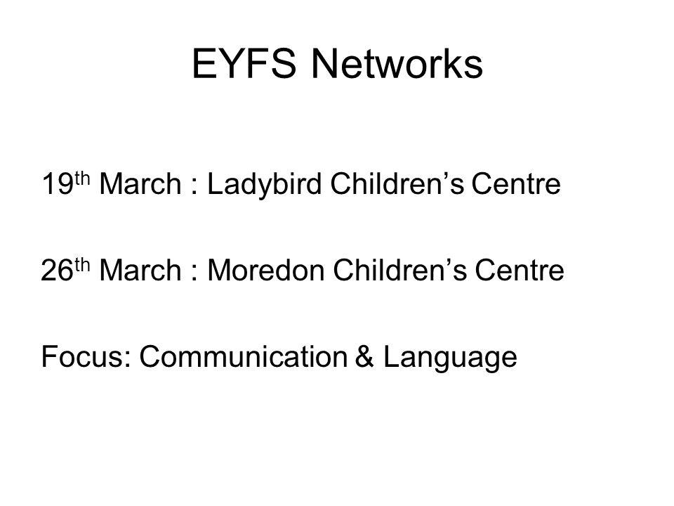 EYFS Networks 19 th March : Ladybird Children's Centre 26 th March : Moredon Children's Centre Focus: Communication & Language