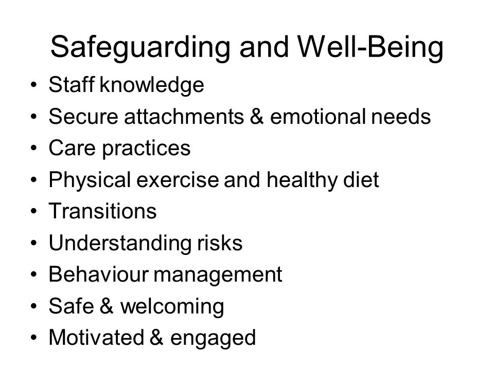 Safeguarding and Well-Being Staff knowledge Secure attachments & emotional needs Care practices Physical exercise and healthy diet Transitions Understanding risks Behaviour management Safe & welcoming Motivated & engaged