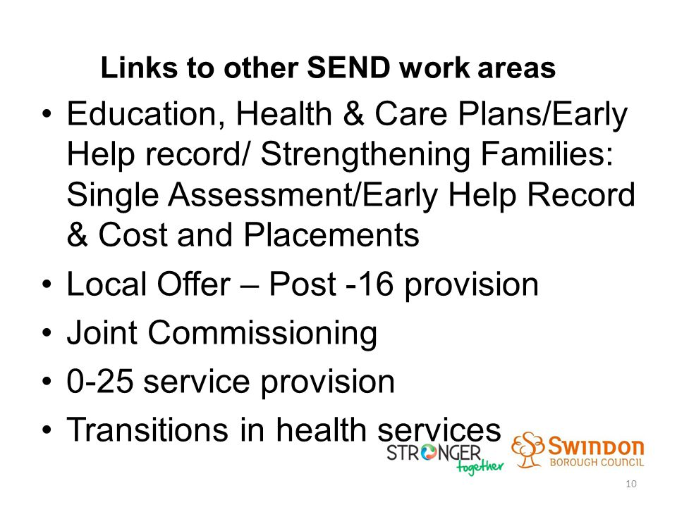 Links to other SEND work areas Education, Health & Care Plans/Early Help record/ Strengthening Families: Single Assessment/Early Help Record & Cost and Placements Local Offer – Post -16 provision Joint Commissioning 0-25 service provision Transitions in health services 10