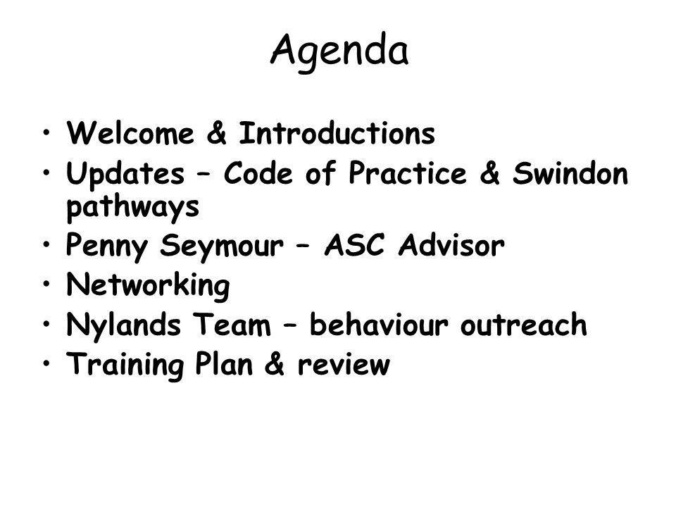 Agenda Welcome & Introductions Updates – Code of Practice & Swindon pathways Penny Seymour – ASC Advisor Networking Nylands Team – behaviour outreach Training Plan & review