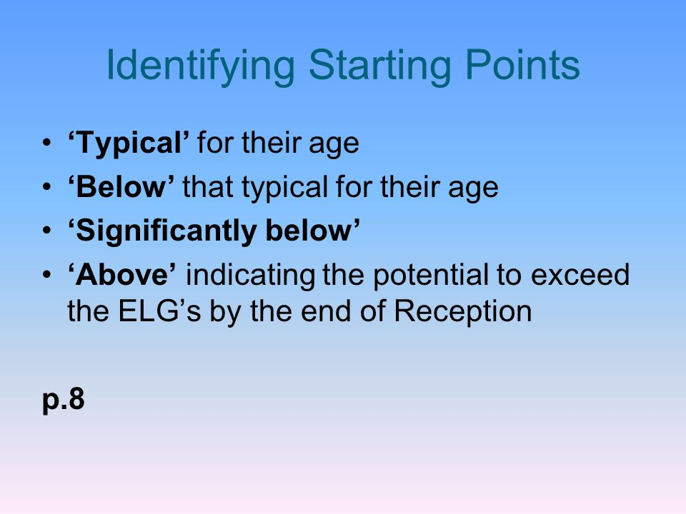 Identifying Starting Points 'Typical' for their age 'Below' that typical for their age 'Significantly below' 'Above' indicating the potential to excee
