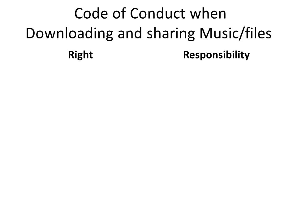 Code of Conduct when Downloading and sharing Music/files RightResponsibility
