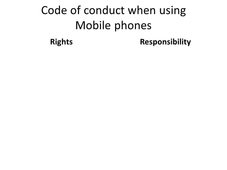 Code of conduct when using Mobile phones RightsResponsibility