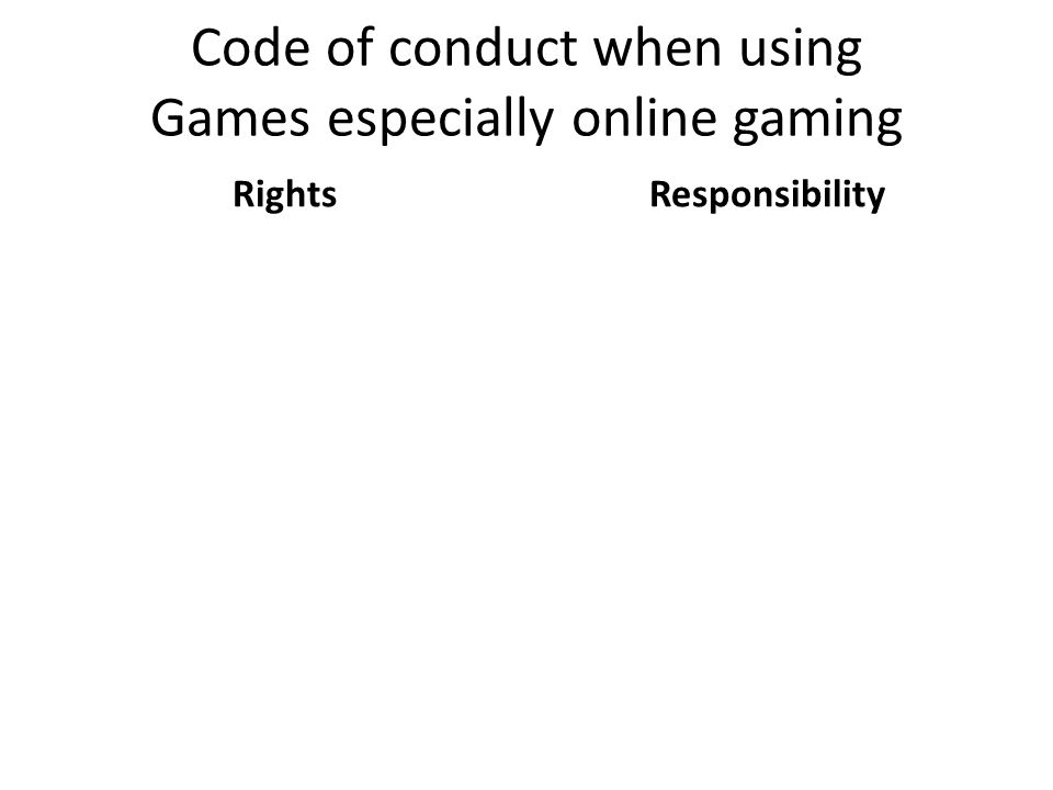Code of conduct when using Games especially online gaming RightsResponsibility