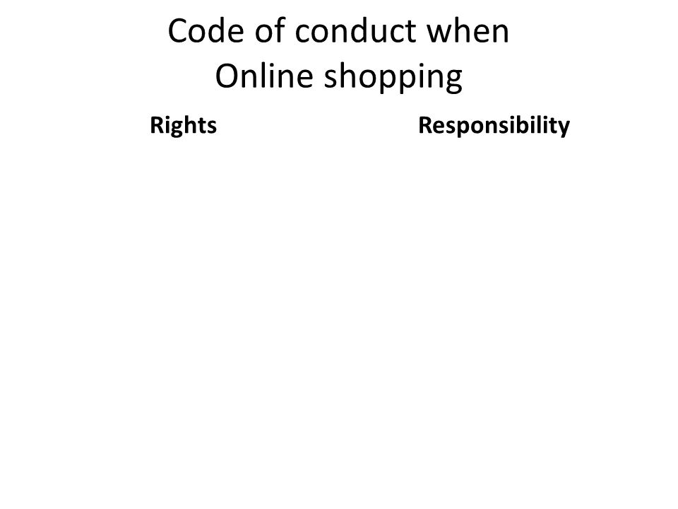 Code of conduct when Online shopping RightsResponsibility