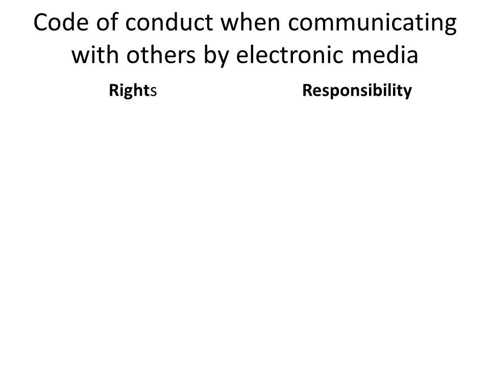 Code of conduct when communicating with others by electronic media RightsResponsibility
