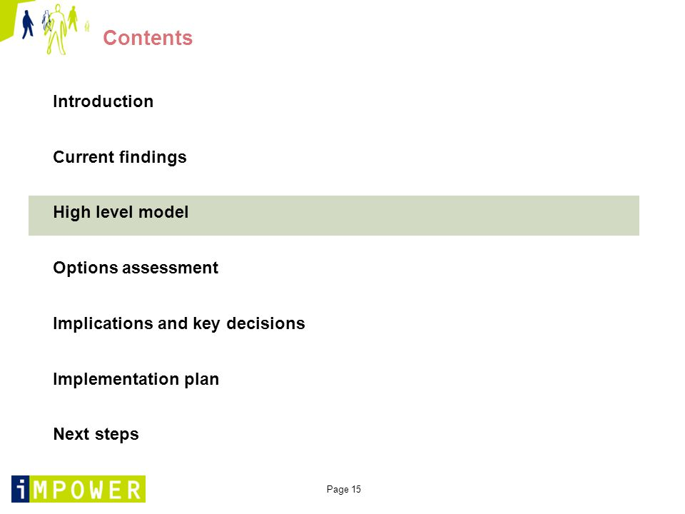 Page 15 Contents Introduction Current findings High level model Options assessment Implications and key decisions Implementation plan Next steps