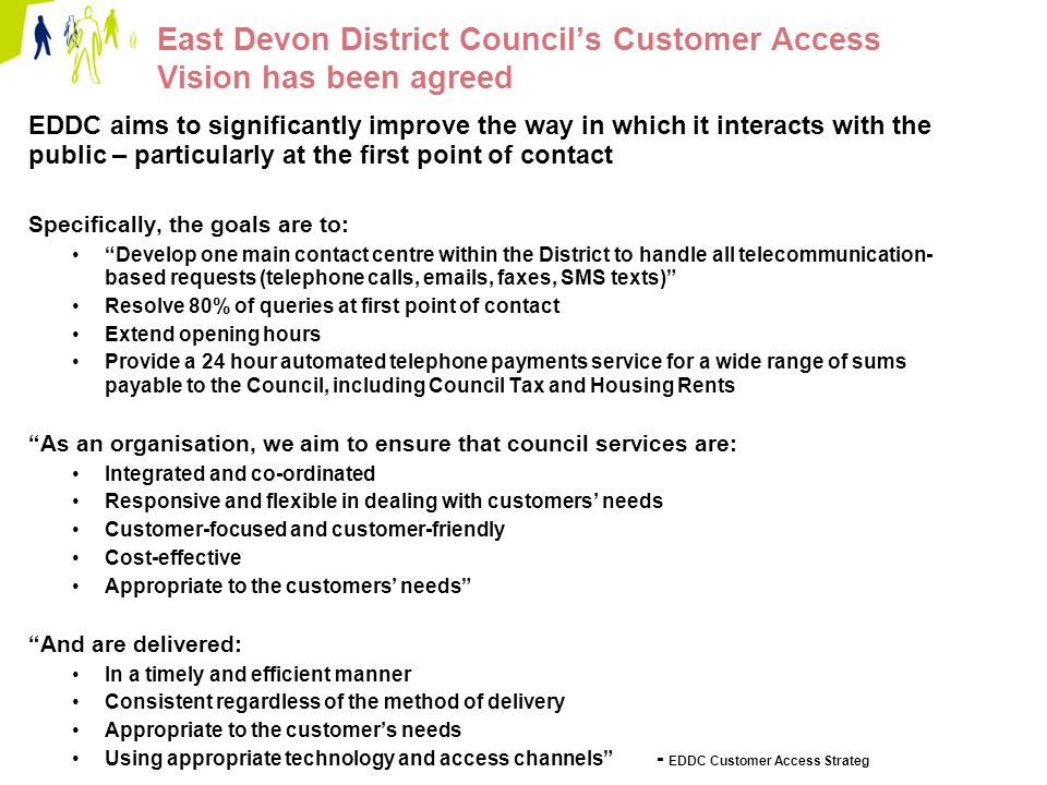 Page 24 Option 2 – EDDC standalone contact centre Description: EDDC builds a contact centre for EDDC services only, including Home Safeguard Contact centre seats located together in Sidmouth (probably Knowle) New telephony management system, resource scheduling technology & CRM installed.