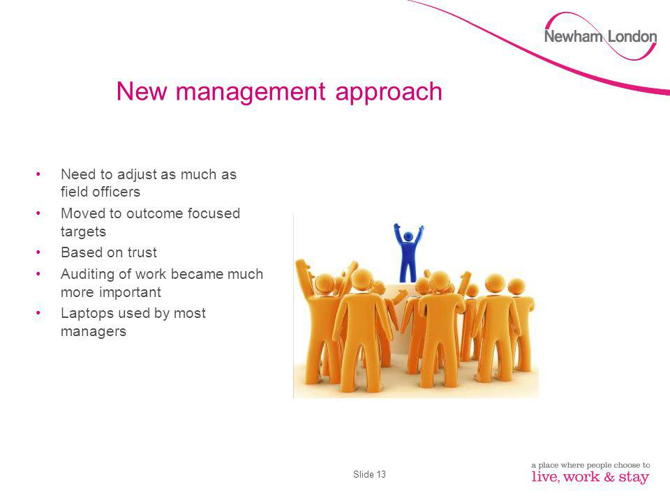 Slide 13 New management approach Need to adjust as much as field officers Moved to outcome focused targets Based on trust Auditing of work became much more important Laptops used by most managers