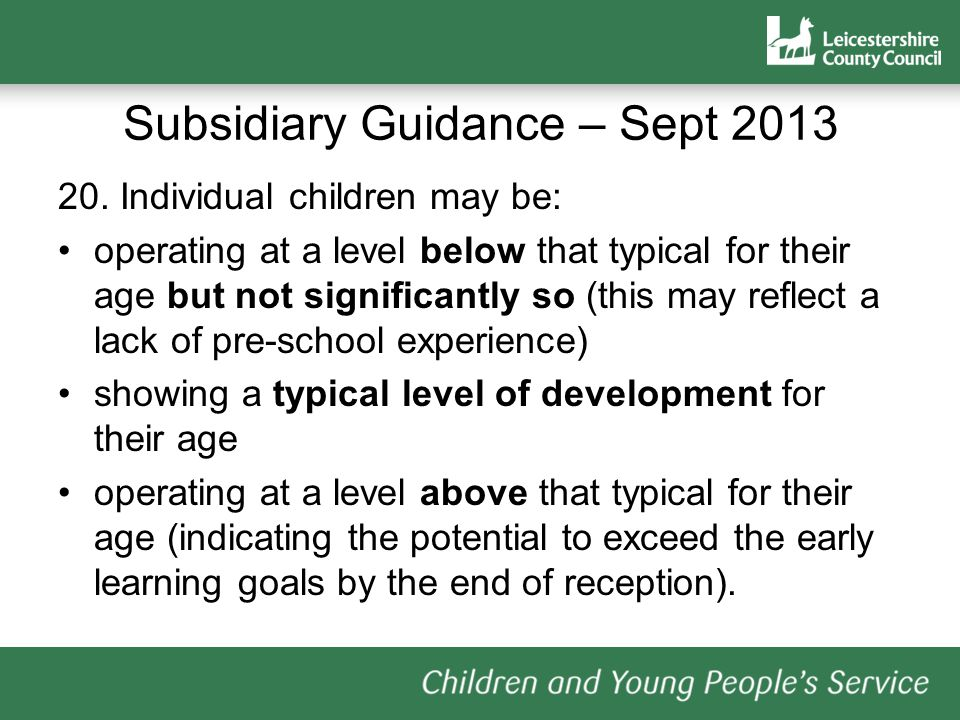 20. Individual children may be: operating at a level below that typical for their age but not significantly so (this may reflect a lack of pre-school