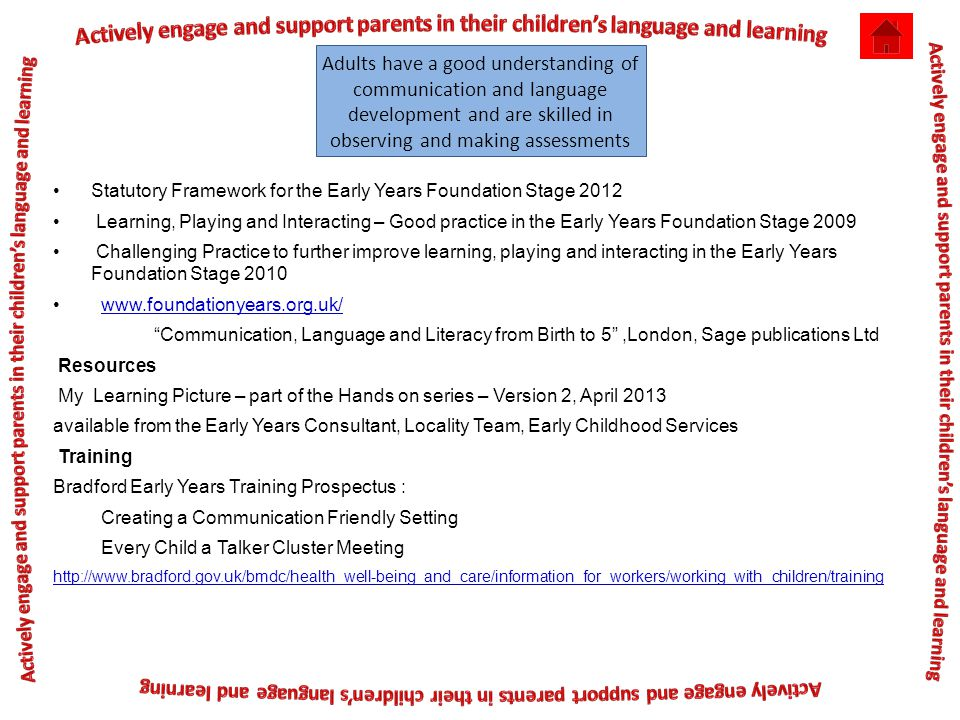 Adults have a good understanding of communication and language development and are skilled in observing and making assessments Statutory Framework for the Early Years Foundation Stage 2012 Learning, Playing and Interacting – Good practice in the Early Years Foundation Stage 2009 Challenging Practice to further improve learning, playing and interacting in the Early Years Foundation Stage 2010 www.foundationyears.org.uk/ Communication, Language and Literacy from Birth to 5 ,London, Sage publications Ltd Resources My Learning Picture – part of the Hands on series – Version 2, April 2013 available from the Early Years Consultant, Locality Team, Early Childhood Services Training Bradford Early Years Training Prospectus : Creating a Communication Friendly Setting Every Child a Talker Cluster Meeting http://www.bradford.gov.uk/bmdc/health_well-being_and_care/information_for_workers/working_with_children/training