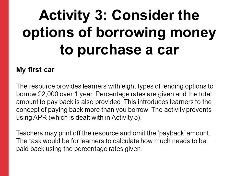 My first car The resource provides learners with eight types of lending options to borrow £2,000 over 1 year.