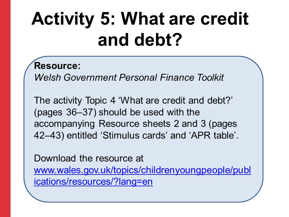 Activity 5: What are credit and debt.