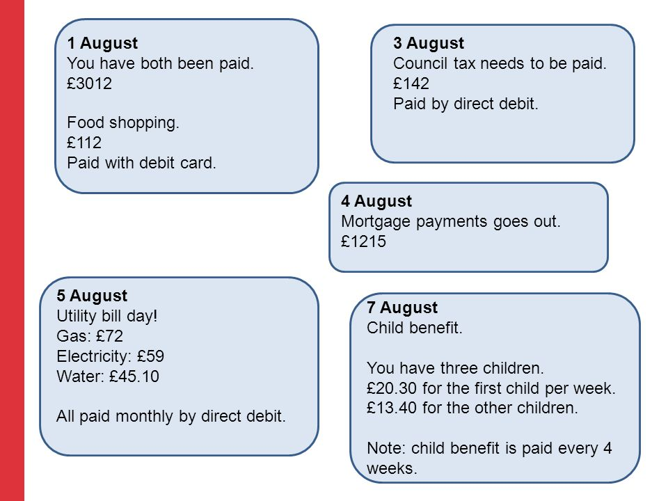 1 August You have both been paid. £3012 3 August Council tax needs to be paid. £142 Paid by direct debit. 4 August Mortgage payments goes out. £1215 5