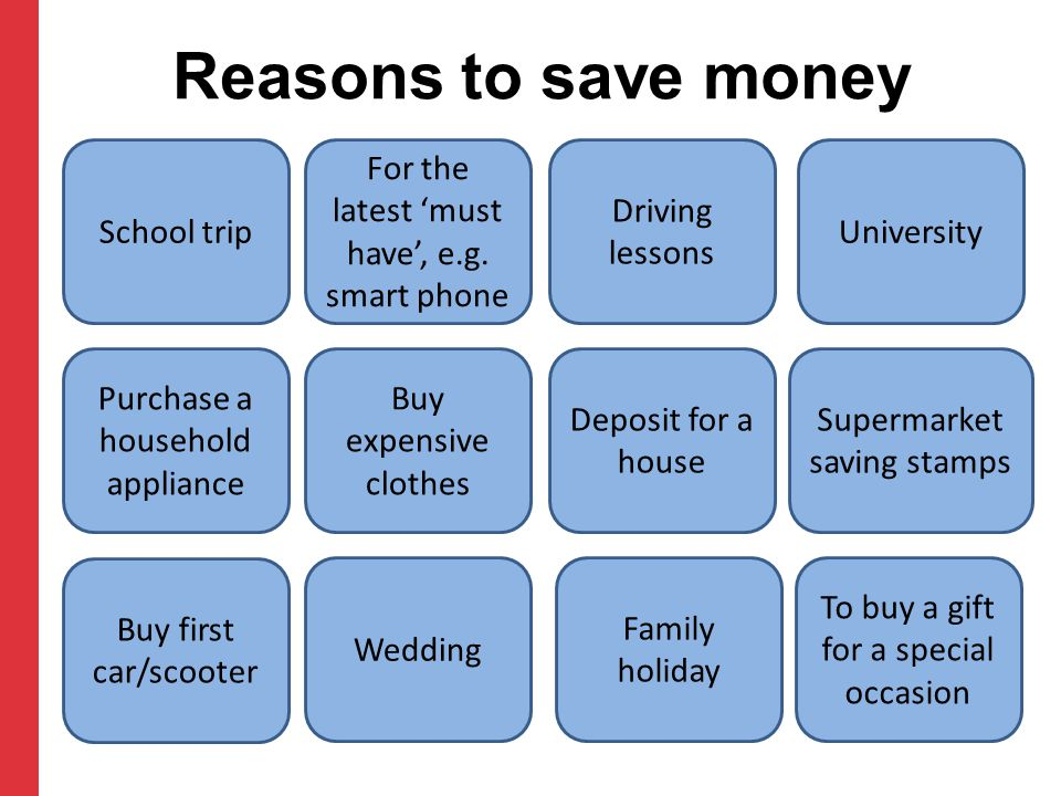 Reasons to save money School trip For the latest 'must have', e.g. smart phone Driving lessons University Purchase a household appliance Buy expensive