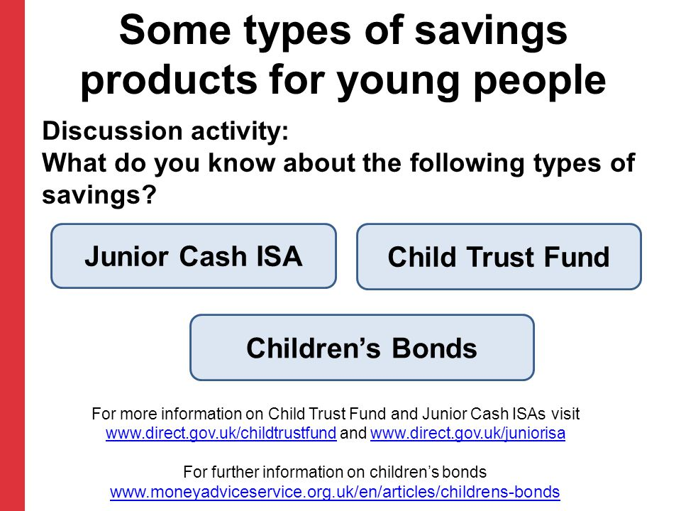 Discussion activity: What do you know about the following types of savings? Some types of savings products for young people Junior Cash ISA Child Trus
