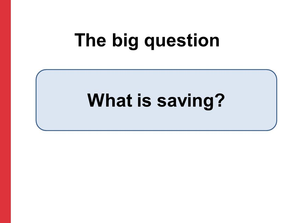 The big question What is saving?