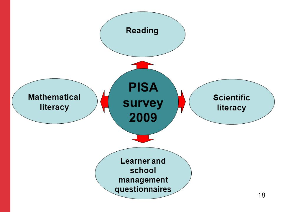 PISA survey 2009 Mathematical literacy Scientific literacy Reading Learner and school management questionnaires 18