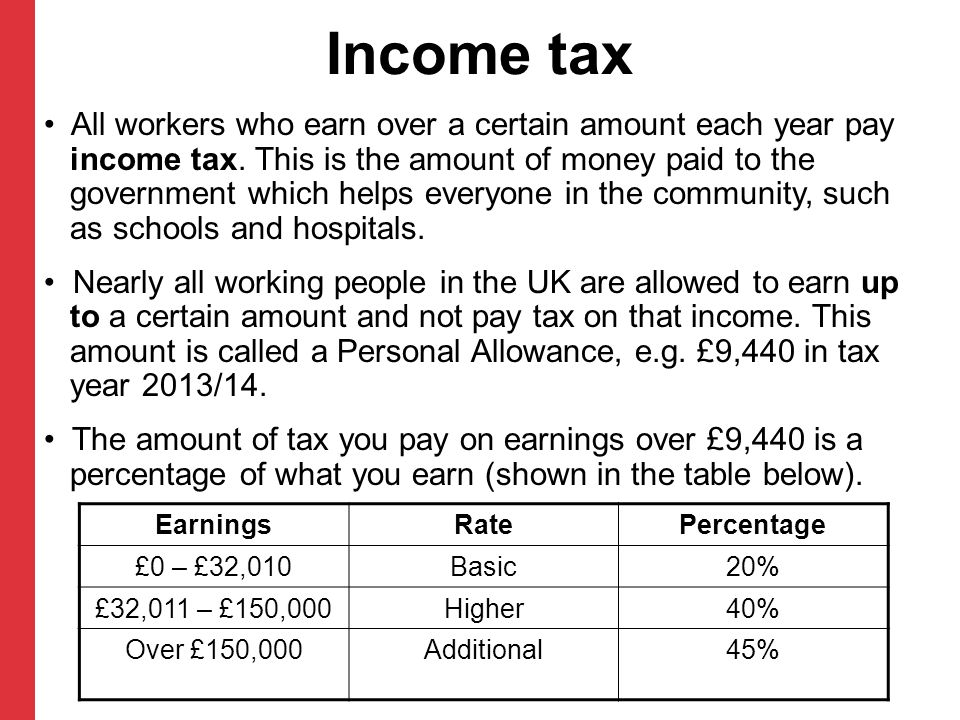 Income tax All workers who earn over a certain amount each year pay income tax.