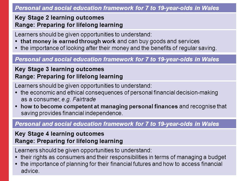 Personal and social education framework for 7 to 19-year-olds in Wales Key Stage 2 learning outcomes Range: Preparing for lifelong learning Learners should be given opportunities to understand:  that money is earned through work and can buy goods and services  the importance of looking after their money and the benefits of regular saving.