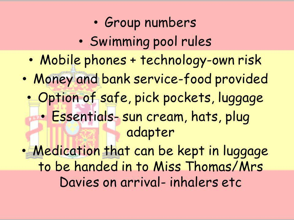 Itinerary- collect copy on way out Return times Journals and prizes Towels Payment cards-collect at end and swimming consent forms Travel insurance documents- originals needed Epipen training- keep pupils behind- arrange training