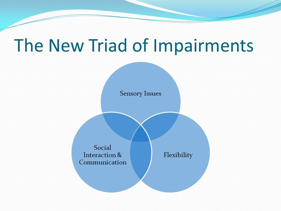 The New Triad of Impairments Sensory Issues Flexibility Social Interaction & Communication