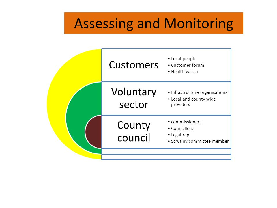 Customers Voluntary sector County council Local people Customer forum Health watch Infrastructure organisations Local and county wide providers commissioners Councillors Legal rep Scrutiny committee member Assessing and Monitoring