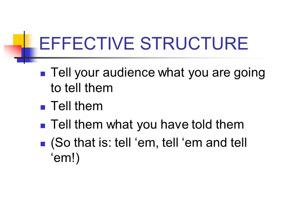 EFFECTIVE STRUCTURE Tell your audience what you are going to tell them Tell them Tell them what you have told them (So that is: tell 'em, tell 'em and