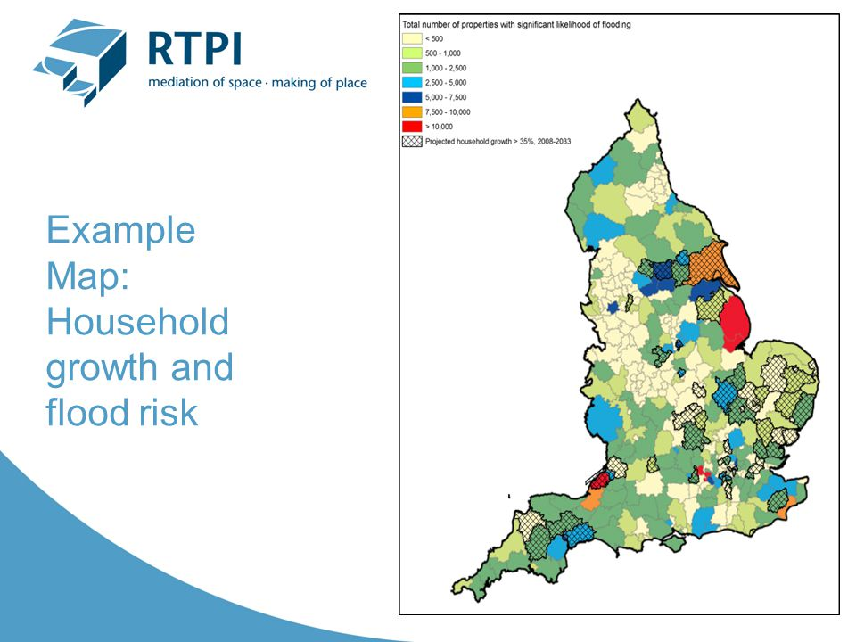 Example Map: Household growth and flood risk
