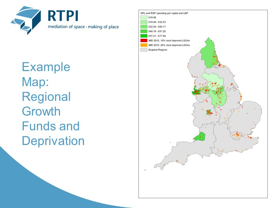Example Map: Regional Growth Funds and Deprivation