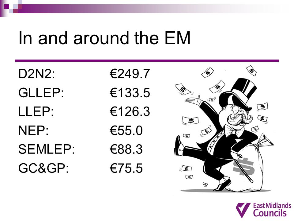 In and around the EM D2N2: €249.7 GLLEP: €133.5 LLEP: €126.3 NEP: €55.0 SEMLEP: €88.3 GC&GP: €75.5