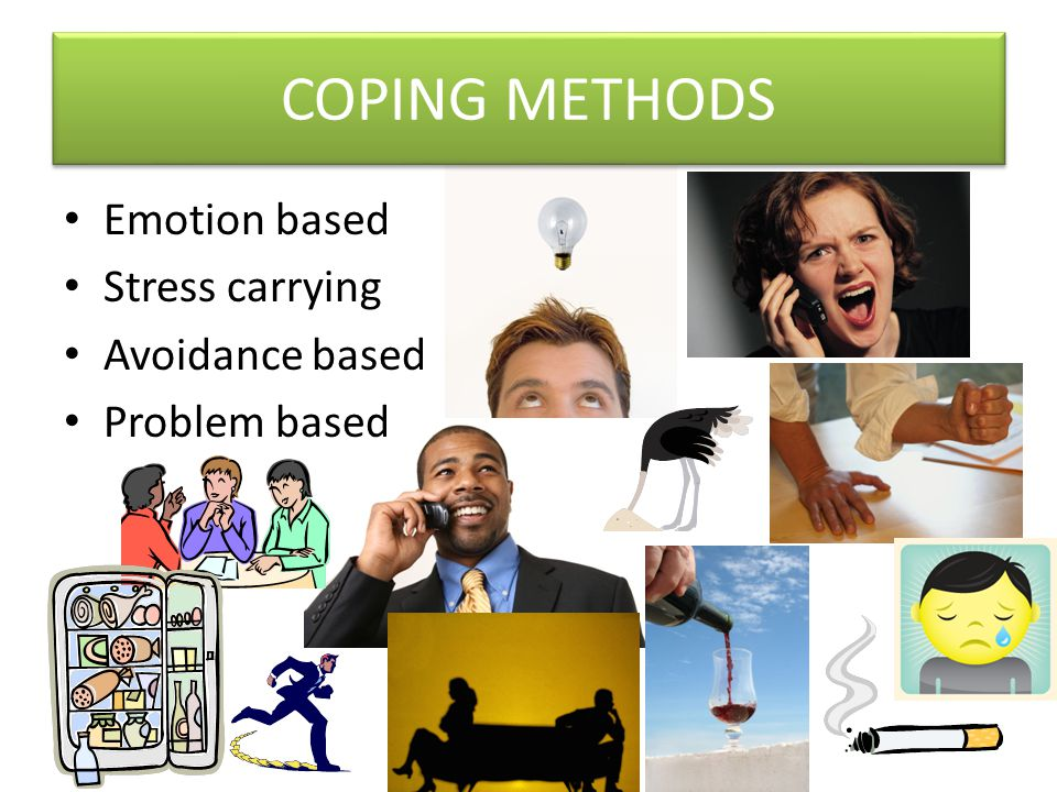 COPING METHODS Emotion based Stress carrying Avoidance based Problem based