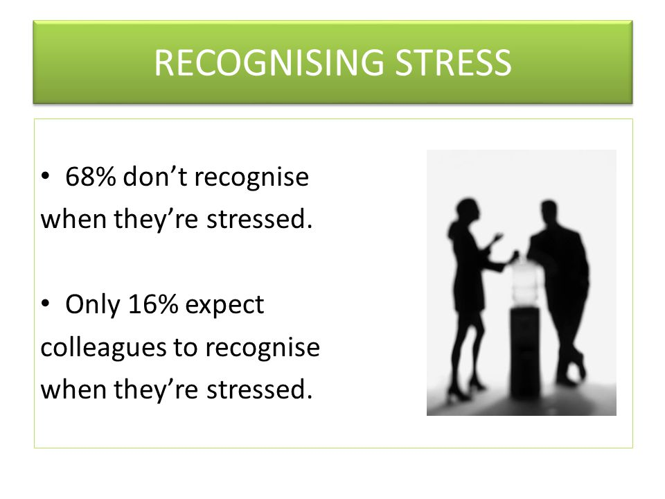 RECOGNISING STRESS 68% don't recognise when they're stressed.