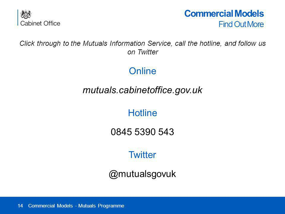 14 Commercial Models Find Out More Commercial Models - Mutuals Programme Click through to the Mutuals Information Service, call the hotline, and follo