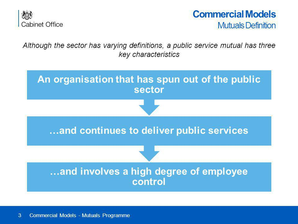 3 Commercial Models Mutuals Definition Although the sector has varying definitions, a public service mutual has three key characteristics Commercial M