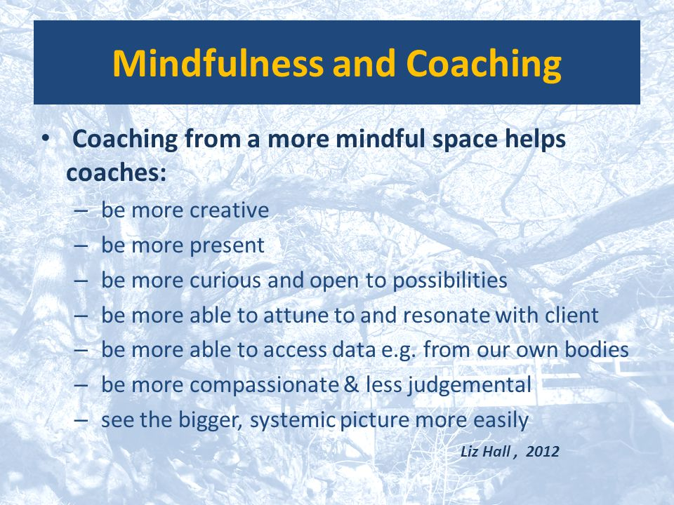 Mindfulness and Coaching Coaching from a more mindful space helps coaches: – be more creative – be more present – be more curious and open to possibil