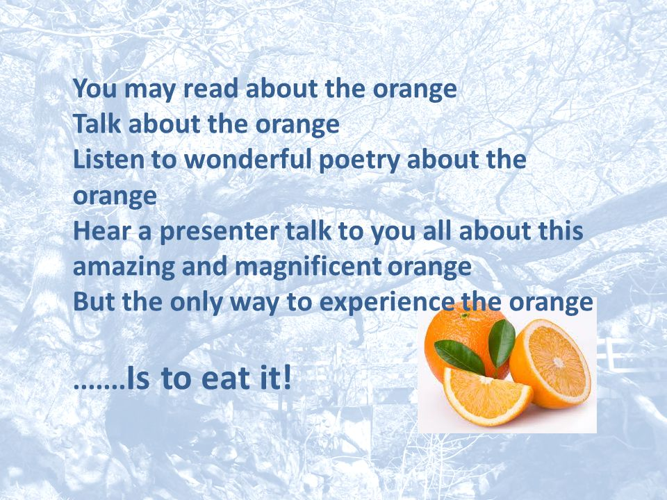 You may read about the orange Talk about the orange Listen to wonderful poetry about the orange Hear a presenter talk to you all about this amazing an