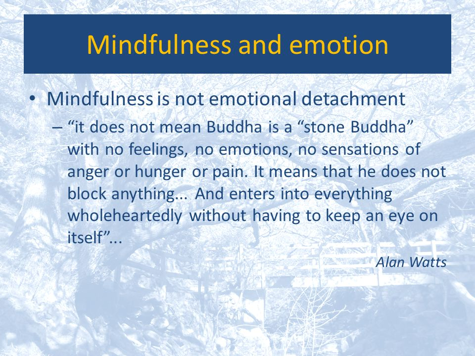 """Mindfulness and emotion Mindfulness is not emotional detachment – """"it does not mean Buddha is a """"stone Buddha"""" with no feelings, no emotions, no sensa"""