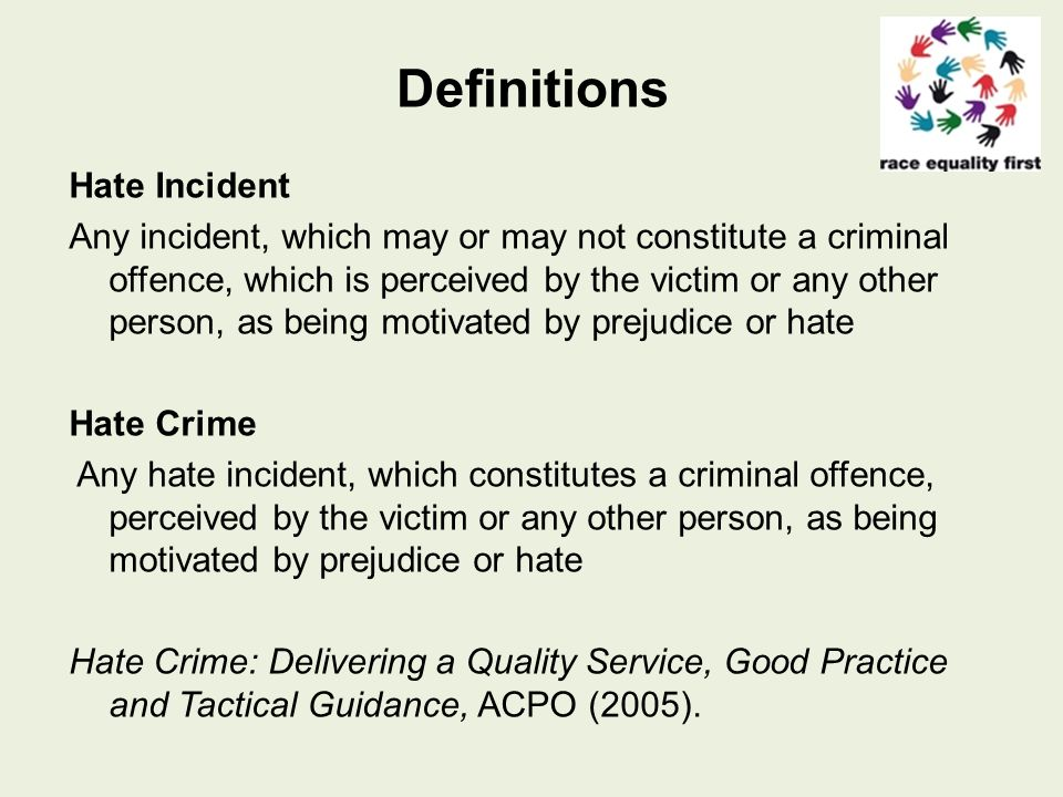 Monitored Hate Crime Disability Gender reassignment/transgender Race and ethnicity Religion and belief Sexual orientation