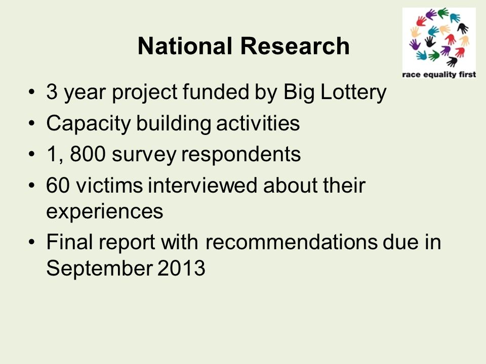 National Research 3 year project funded by Big Lottery Capacity building activities 1, 800 survey respondents 60 victims interviewed about their experiences Final report with recommendations due in September 2013