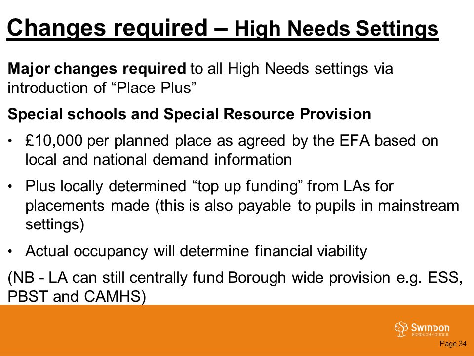 "Changes required – High Needs Settings Major changes required to all High Needs settings via introduction of ""Place Plus"" Special schools and Special"