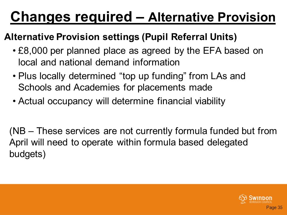 Changes required – Alternative Provision Alternative Provision settings (Pupil Referral Units) £8,000 per planned place as agreed by the EFA based on