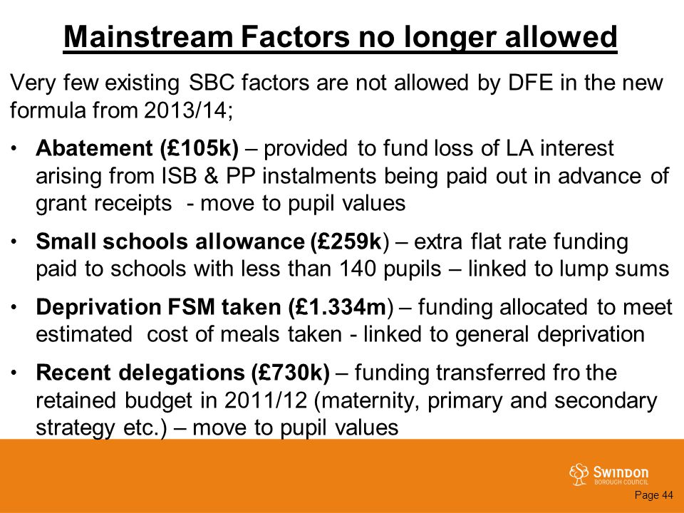 Mainstream Factors no longer allowed Very few existing SBC factors are not allowed by DFE in the new formula from 2013/14; Abatement (£105k) – provide